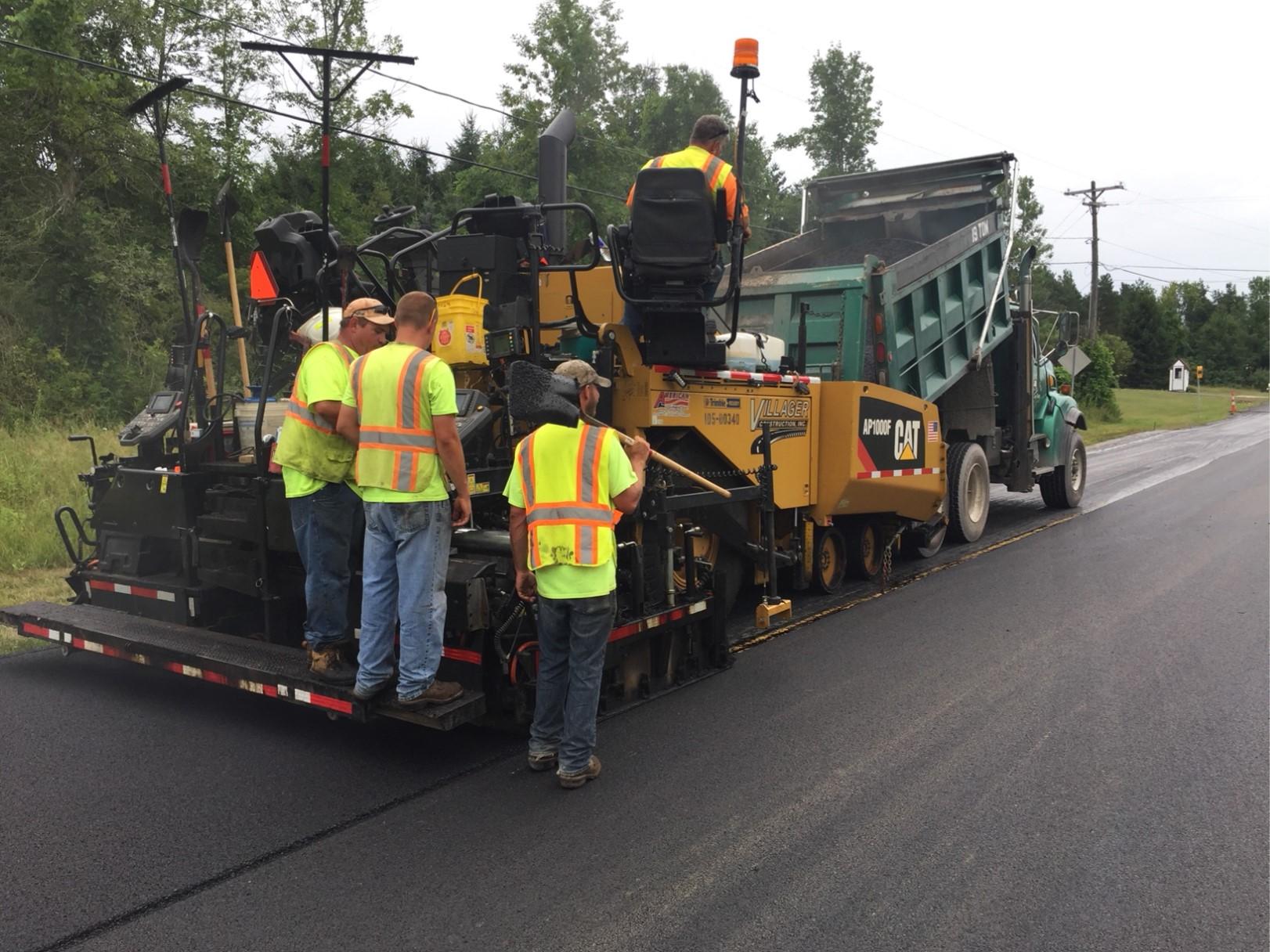 Highway crew paving